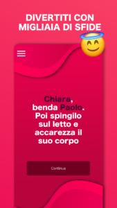 Screenshot dell'applicazione gioco erotico per coppie con un esempio di pegno di coppia